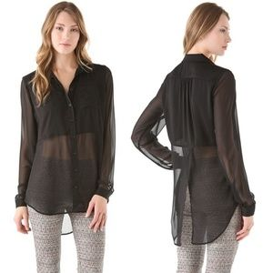 Free People Best of Both World Black Sheer Blouse